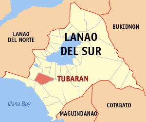 Map of Lanao del Sur showing the location of Tubaran