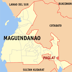 Map of Maguindanao showing the location of Paglat