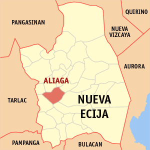 Map of Nueva Ecija showing the location of Aliaga