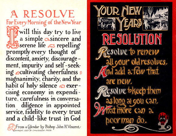 New Year's resolution postcard