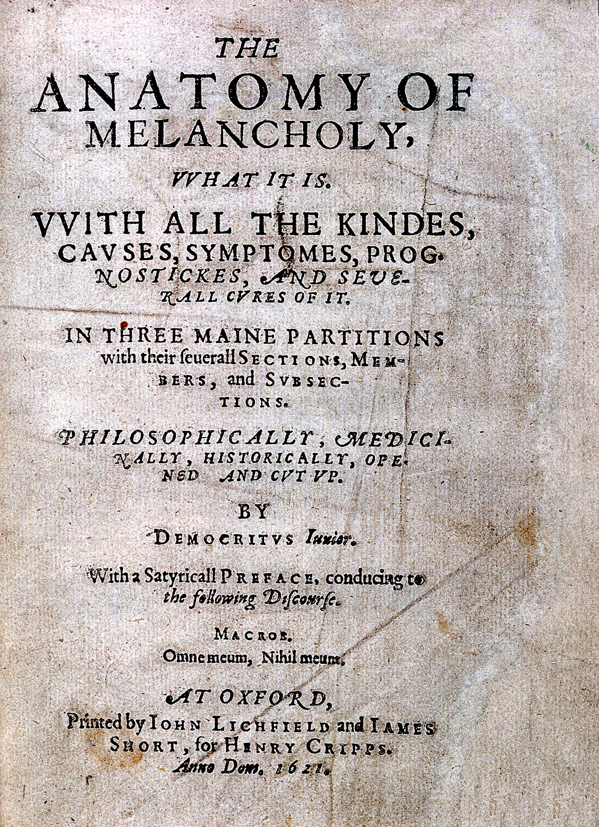 File:Robert Burton, The anatomy of melancholy... Wellcome L0027168 ...