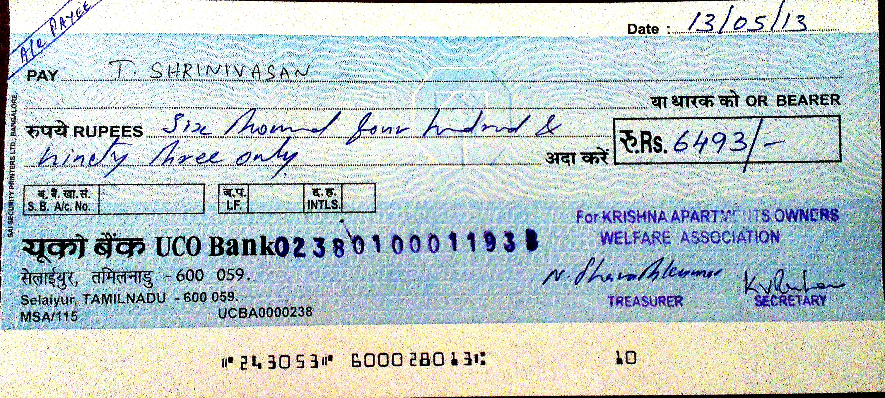 open cheque example