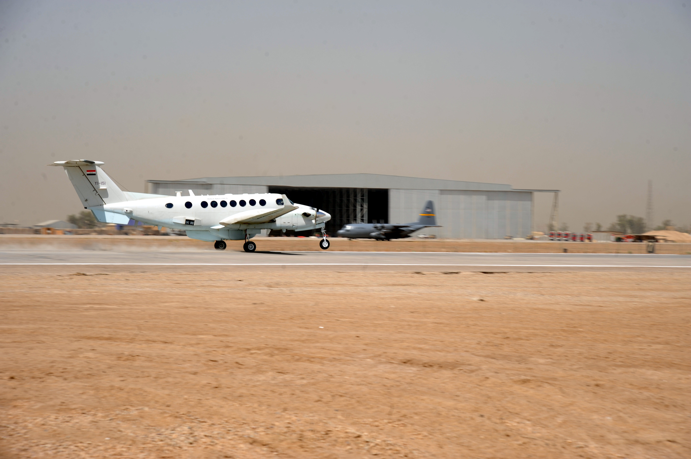 Sather renovates runway, paves way for Iraq's future DVIDS182456.jpg English: An Iraqi king air 300 takes off on a newly refurbished runway
