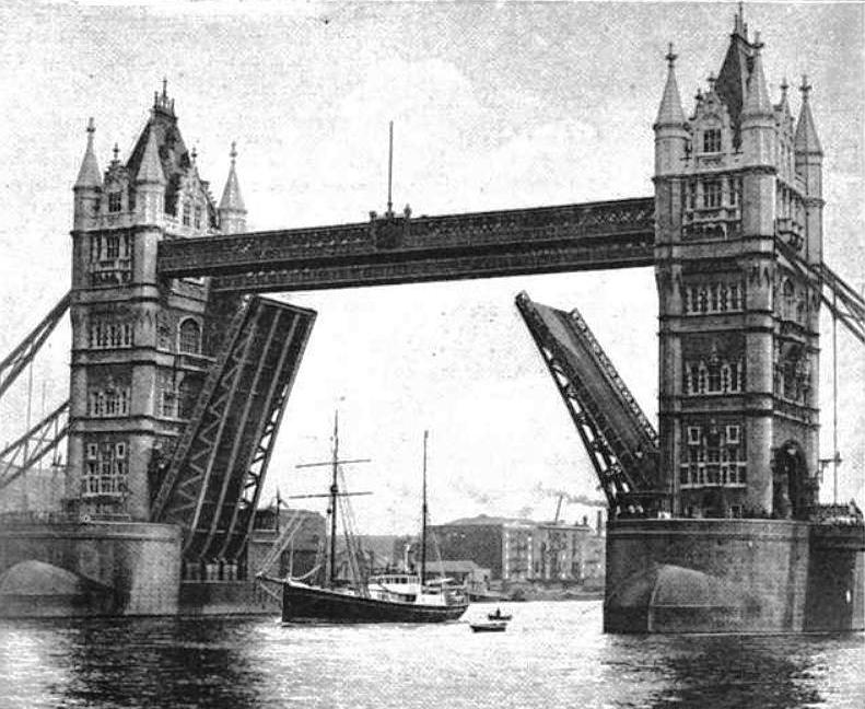 "Ernest Shackleton's Ship ""The Quest"" leaving under the Tower Bridge"