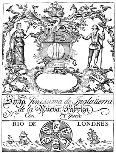 "An early trade label of the South Sea Company, for export of finest English serge cloth. The letters circumscribing the seal below should read ""SS&FC"", for ""South Sea and Fishery Company"" SouthSeaCompany TradeLabel.png"