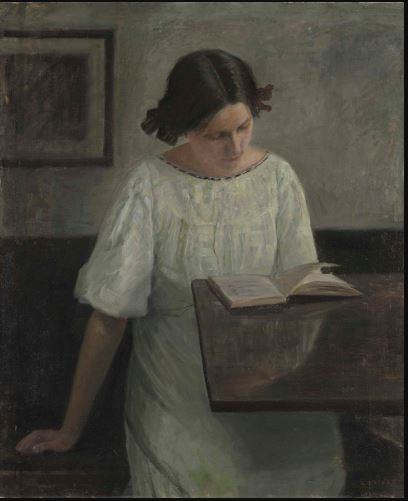 The Artist's Wife in White Reading.JPG