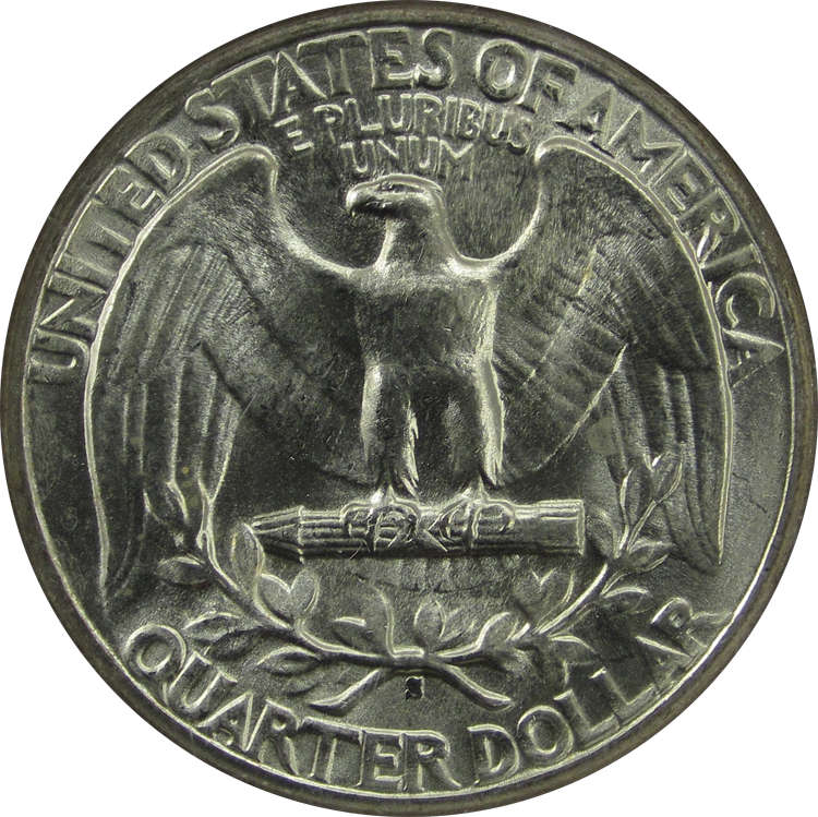 Washington Quarter Silver 1944S Reverse