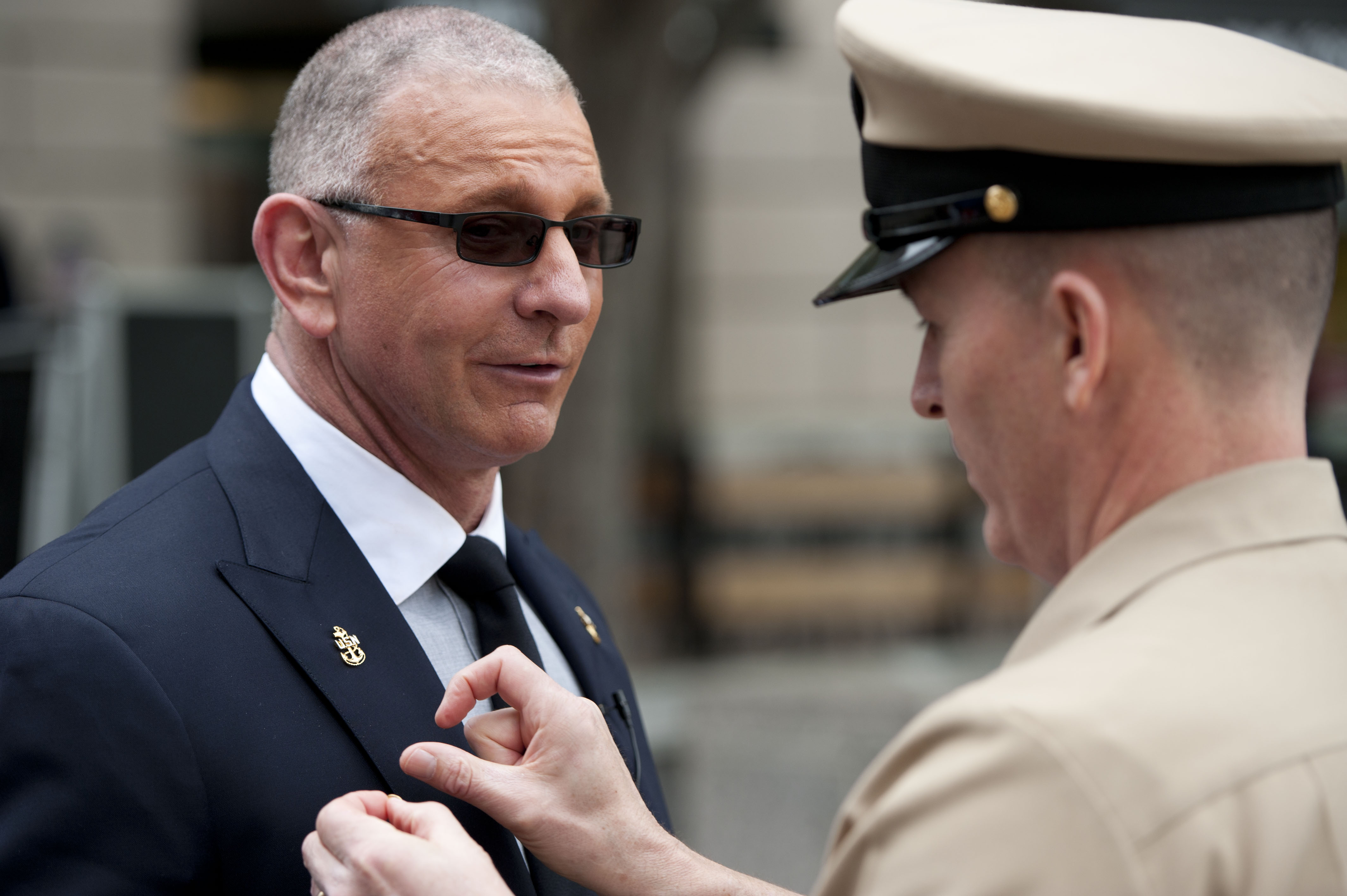 Irvine being made an honorary chief petty officer of the US Navy in May  2015 at Washington, DC.