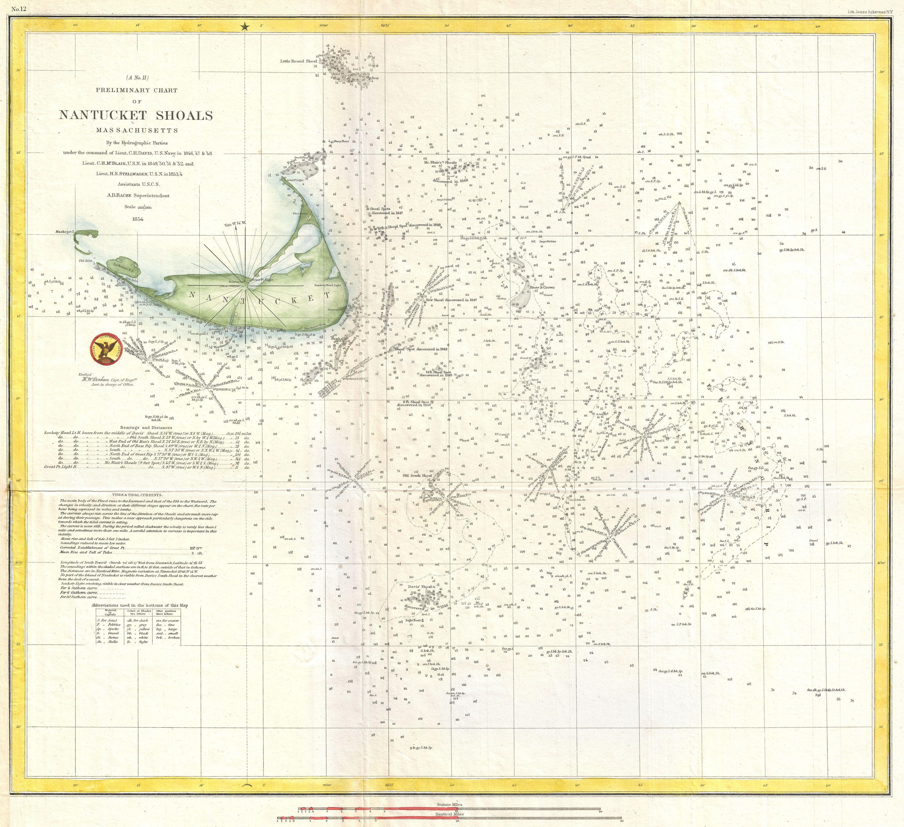 One Hundred Chart: 1854 U.S. Coast Survey Nautical Chart or Map of Nantucket ,Chart