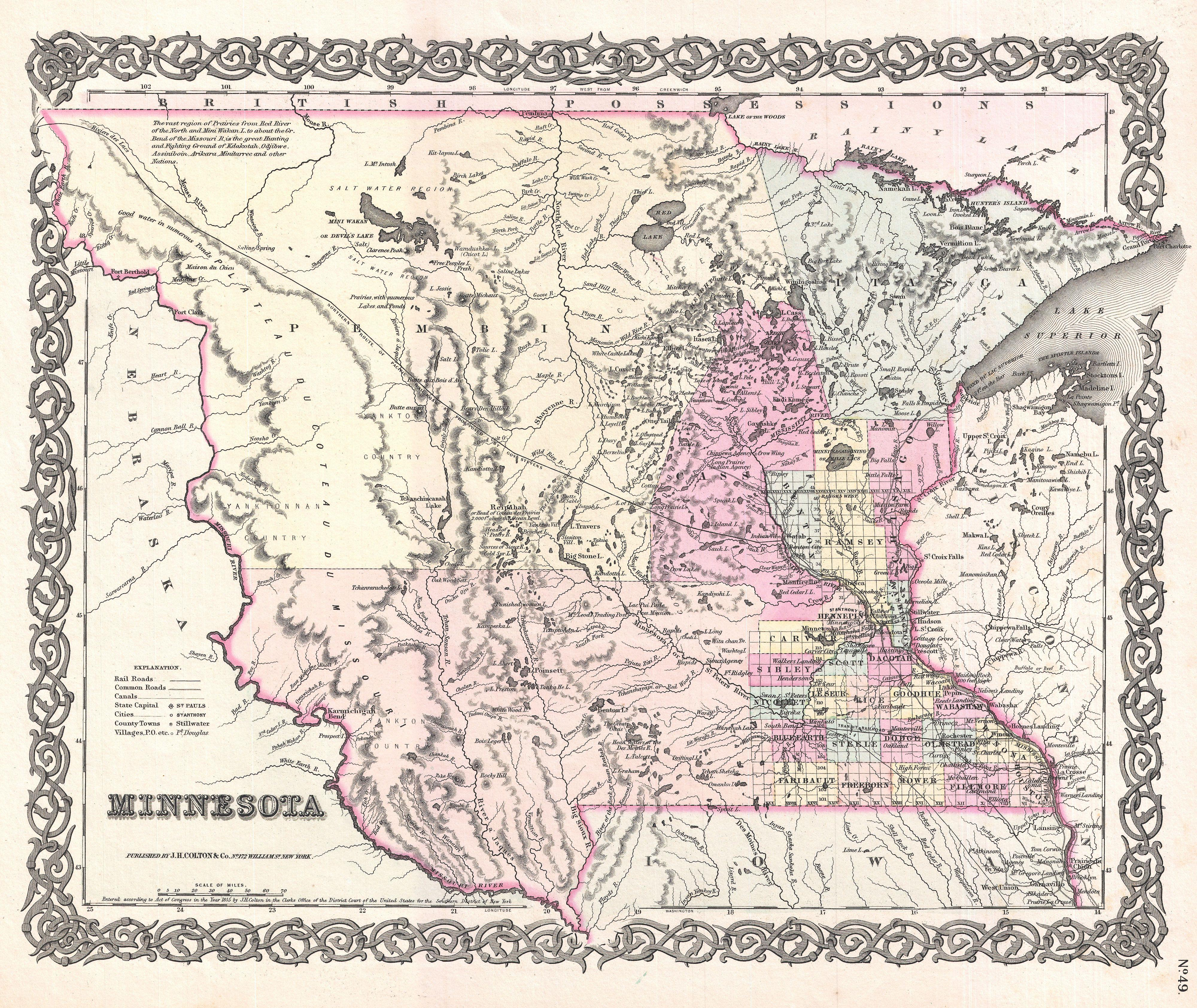 File:1855 Colton Map of Minnesota - Geographicus - Minnesota-colton ...