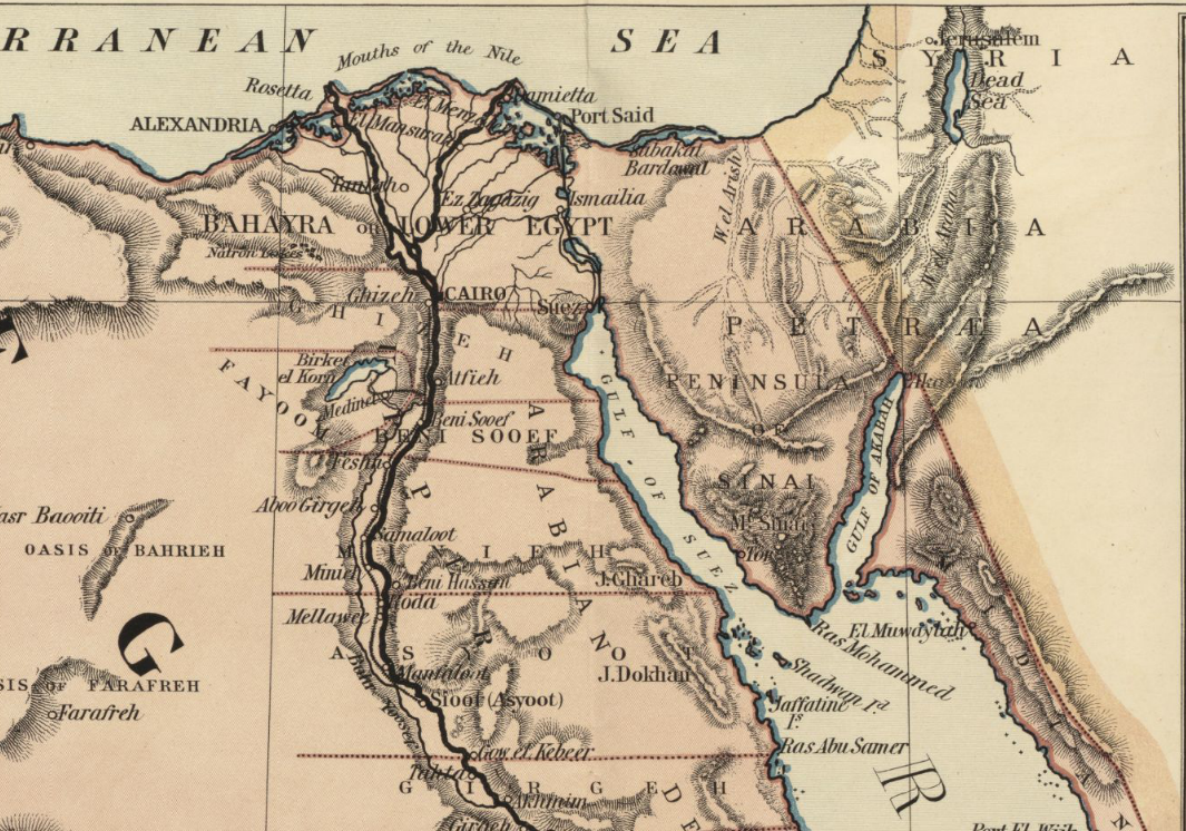 file1885 map egypt and the basin of the nile by johnston bpl m0612005 detail