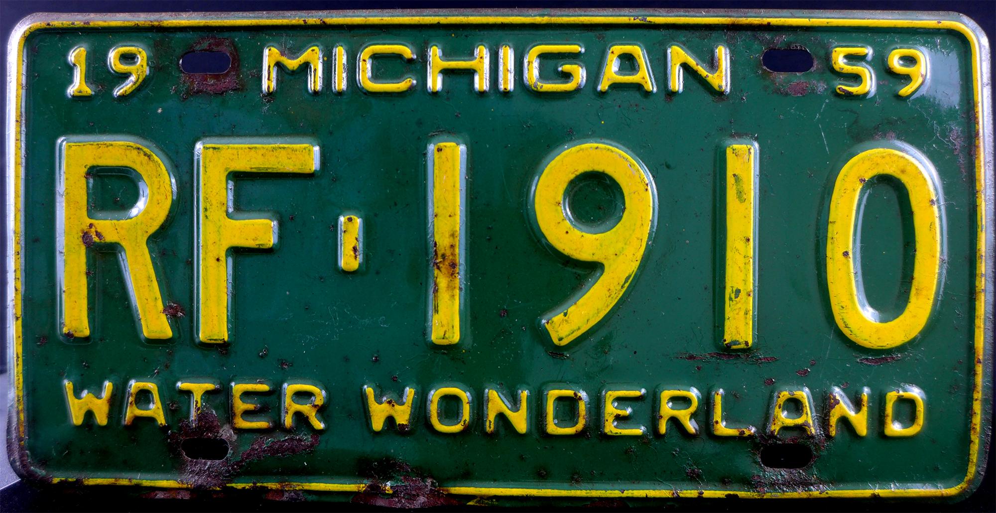 File:1959 Michigan License Plate.jpg - Wikimedia Commons