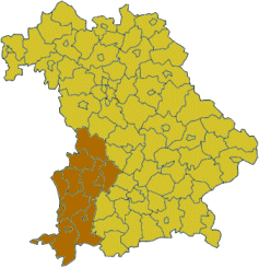 Map of Bavaria highlighting the  Regierungsbezirk of Swabia