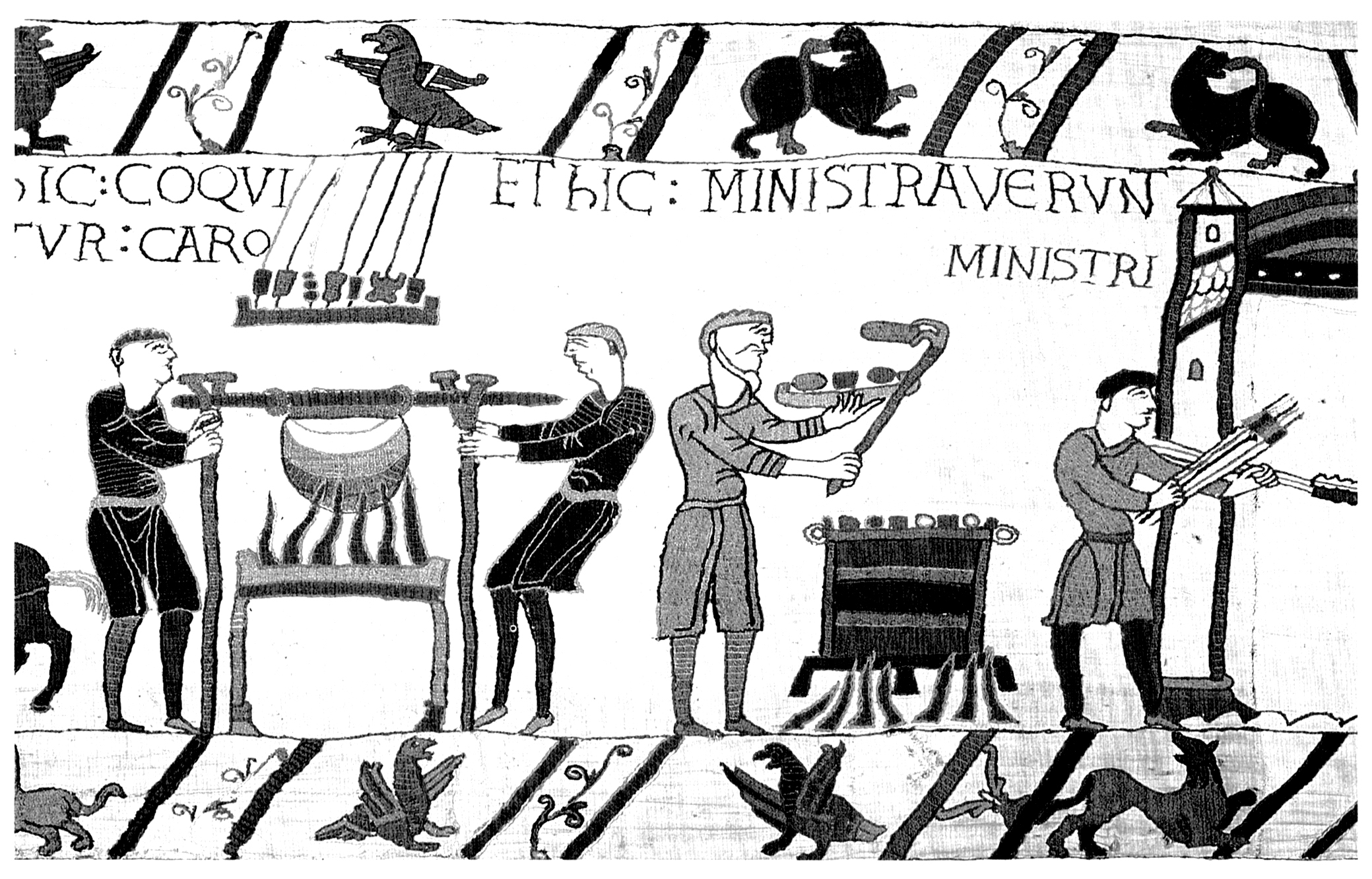 Serving men in short tunics. Cooking meat for a feast. Detail from the Bayeux Tapestry.