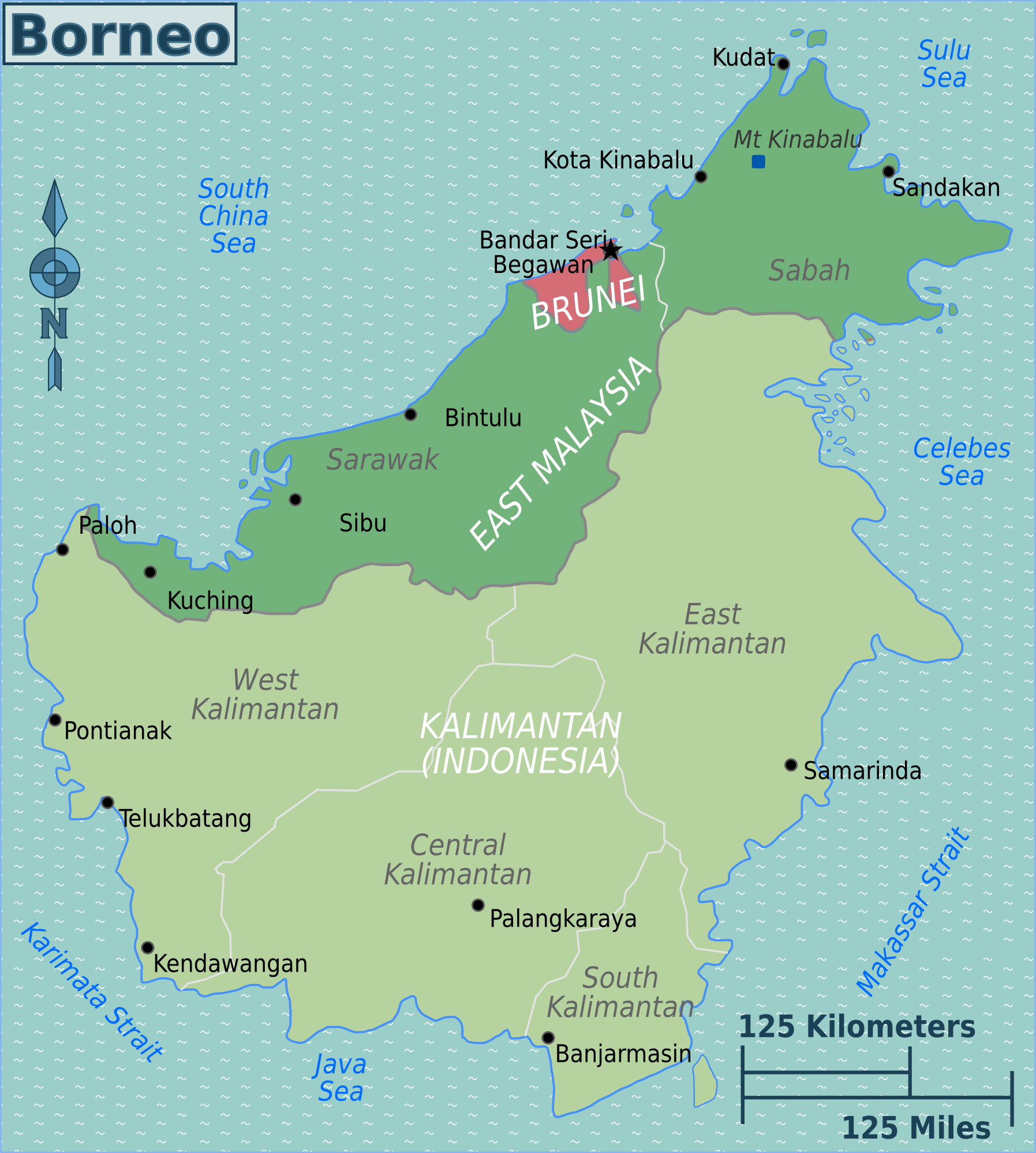 Map Of Borneo Borneo – Travel guide at Wikivoyage