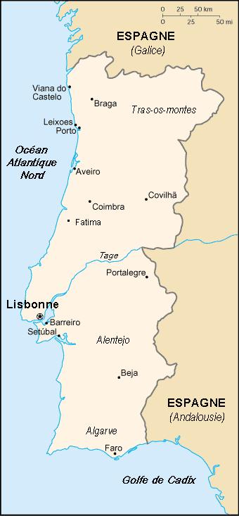 Carte Du Portugal Avec R Ef Bf Bdgions Et Villes