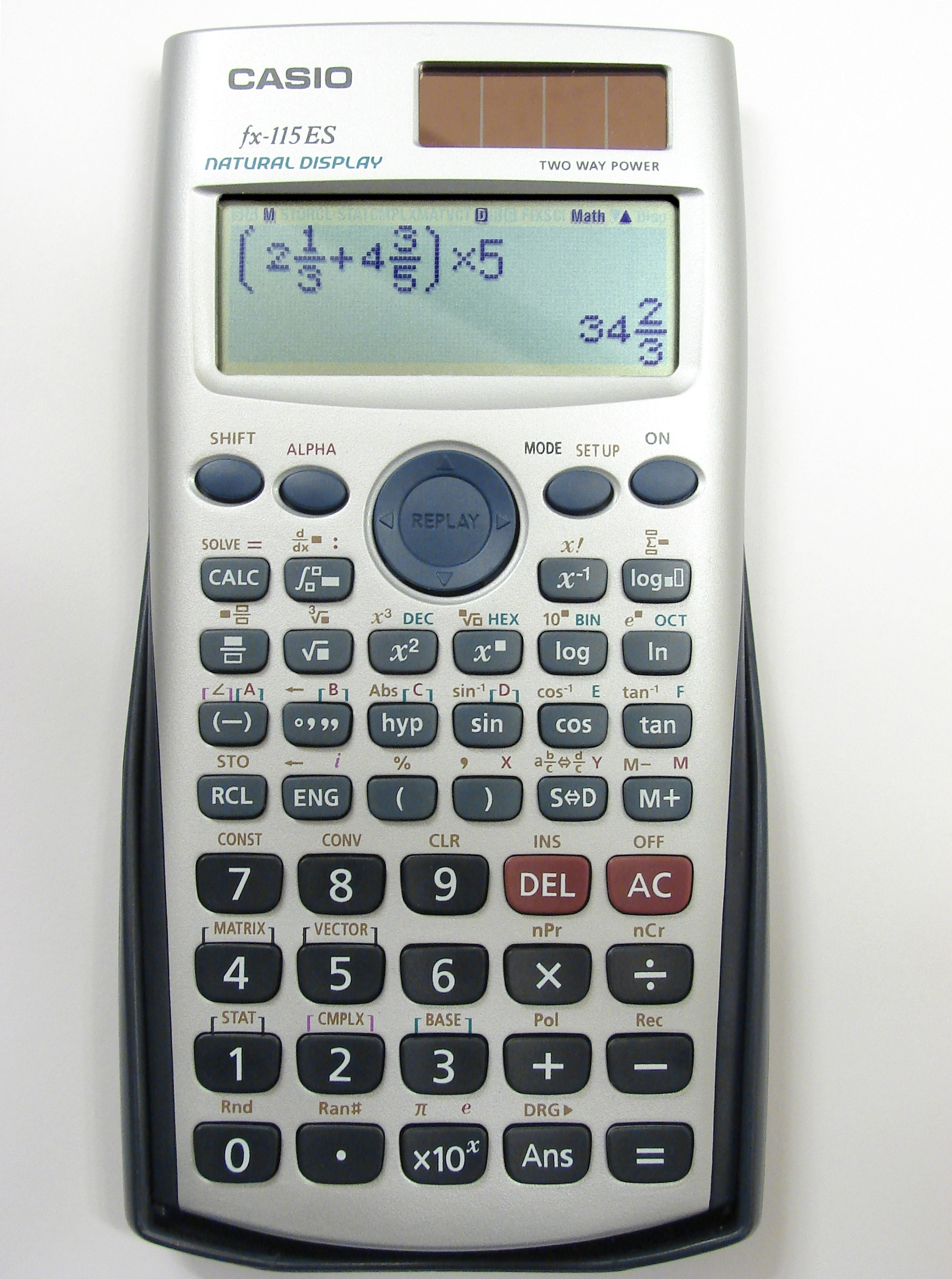 A modern scientific calculator with a dot matrix LCD display