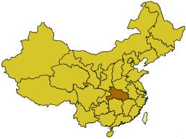 Localización de la provincia de Hubei.