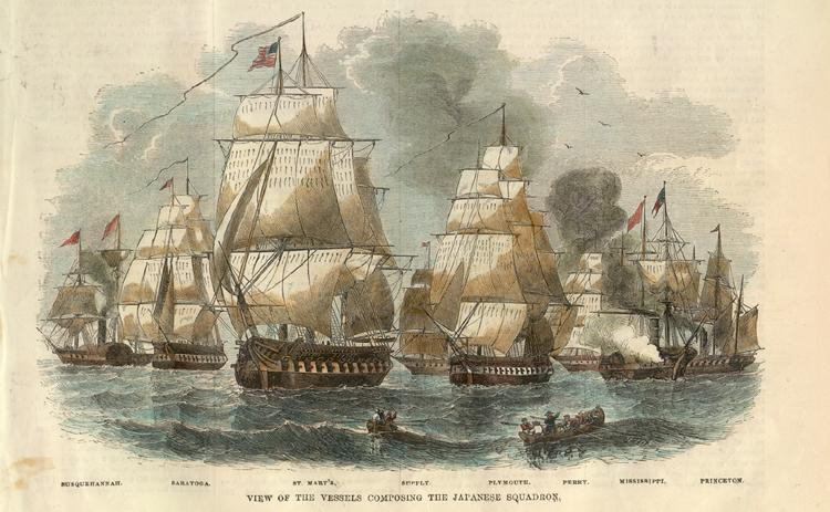 An old black and white drawing of five big sailing ships.