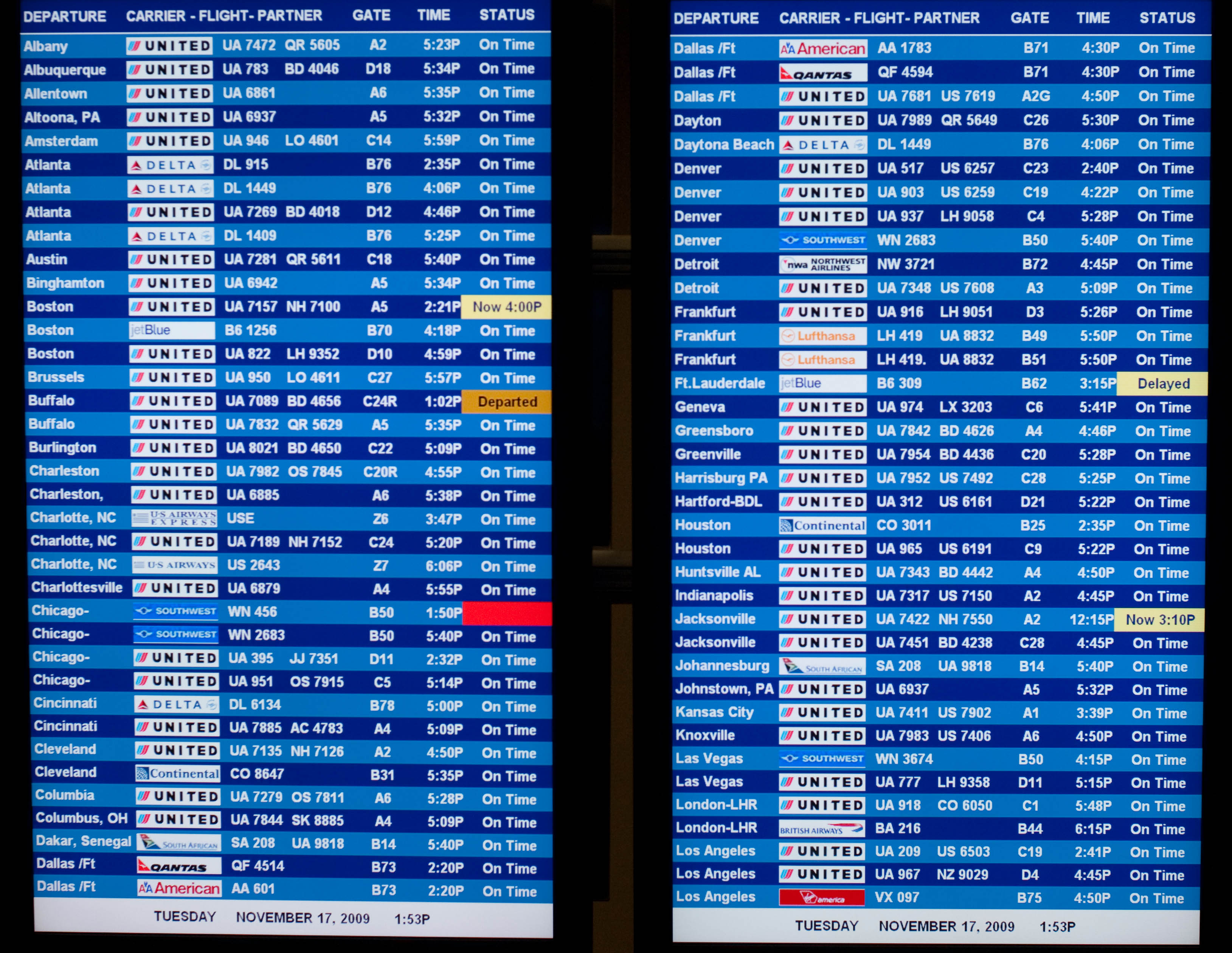 File Departure And Arrival Board At Dulles Airport
