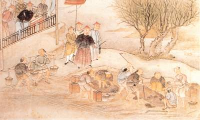 picture showing the destruction of opium in dug trenches