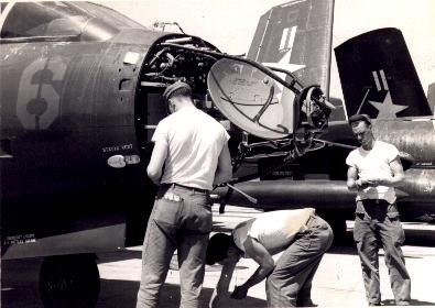 Maintenance on an APQ-35 radar of a F3D-2 in Korea, 1953 - Douglas F3D Skyknight