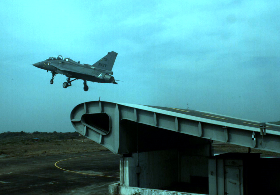HAL Tejas NP-1 takes-off from the Shore Based Test Facility at INS Hansa, Goa 2.JPG
