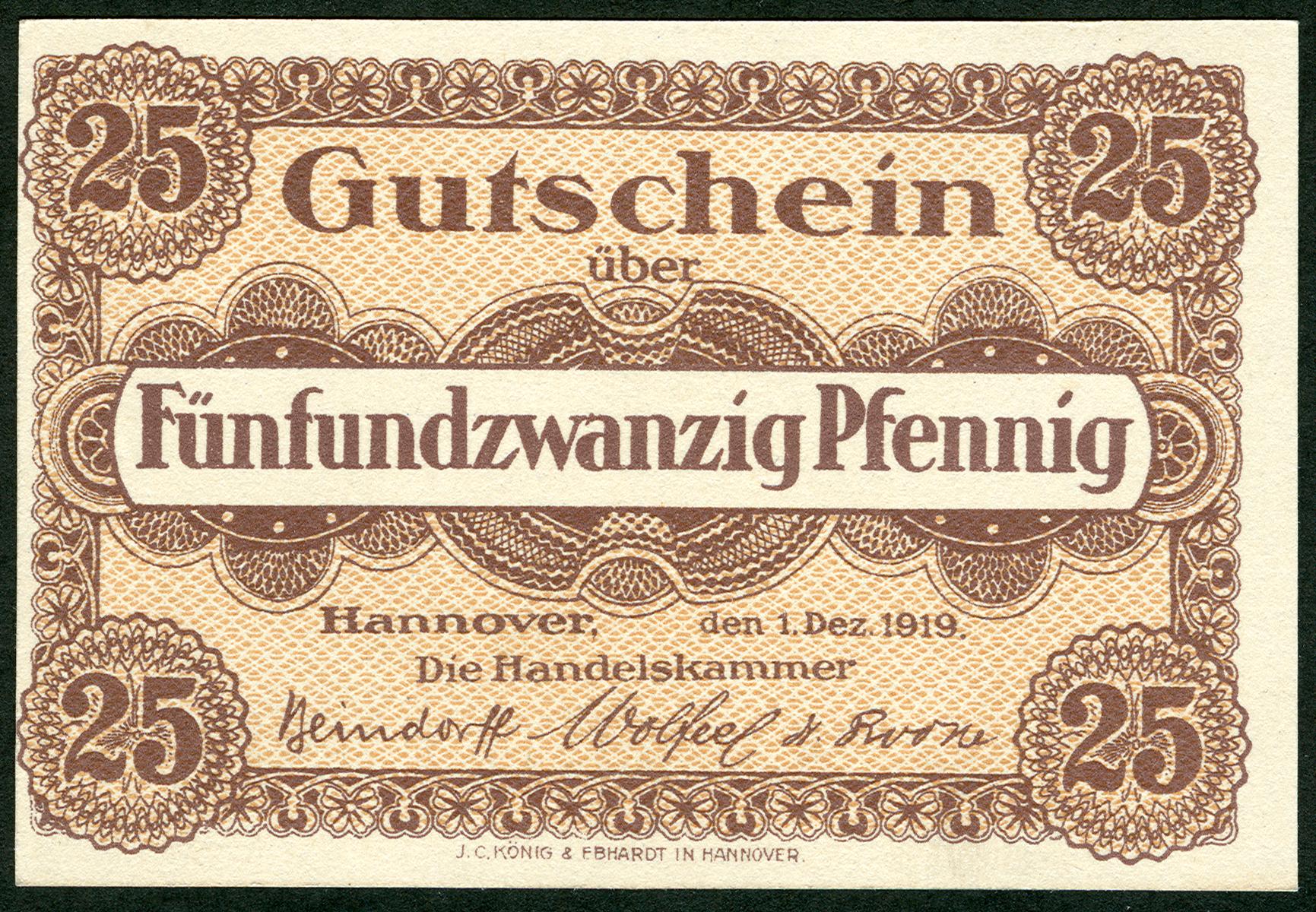 6c1466429039f7 Notgeld über 25 Pfennig zu Beginn der Weimarer Republik