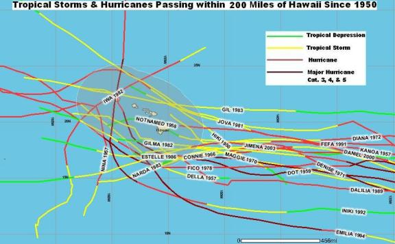 Hurricane Map near Hawaii