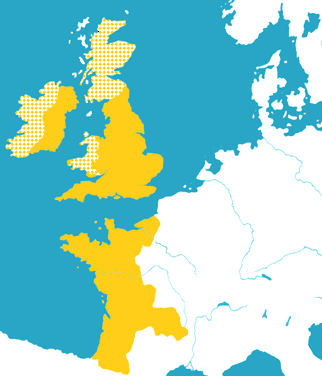 The extent of the Angevin Empire around 1172