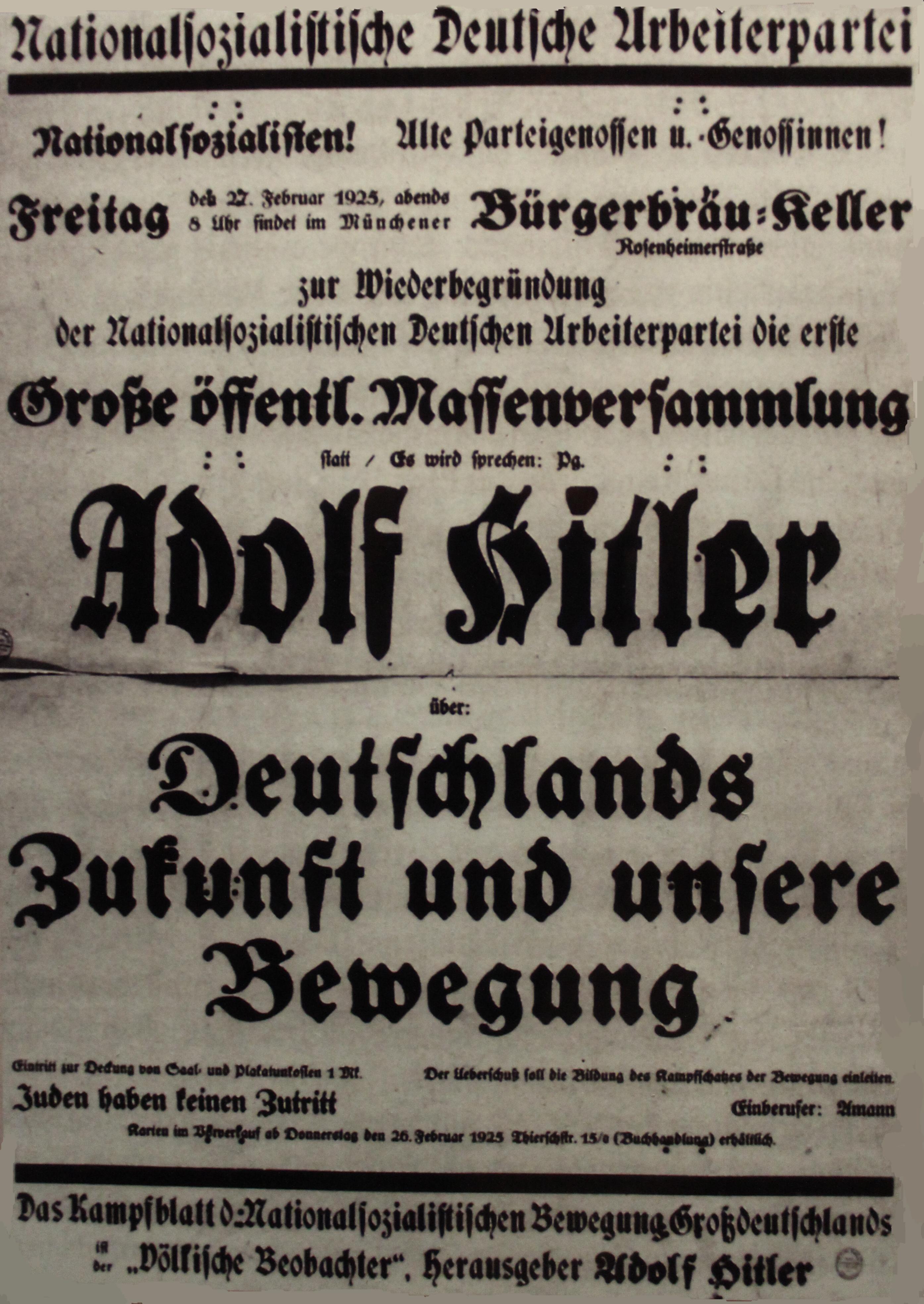 Einladung zu einer Versammlung im Münchner Bürgerbräukeller am 27. Februar 1925, einen Tag nach der Neugründung der NSDAP