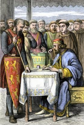 Barons forced King John of England to sign the Magna Carta laying early foundations for the evolution of constitutional monarchy. John, Magna Carta.jpg