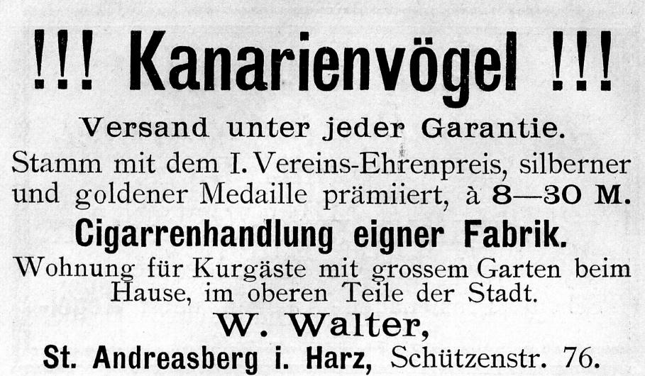 Der Harzer Roller oder  Umweltfreundlicher Brand & Gasmelder Kanarienv%C3%B6gel_W._Walter