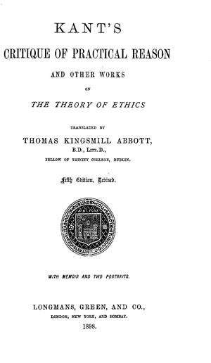 Critique of Practical Reason cover
