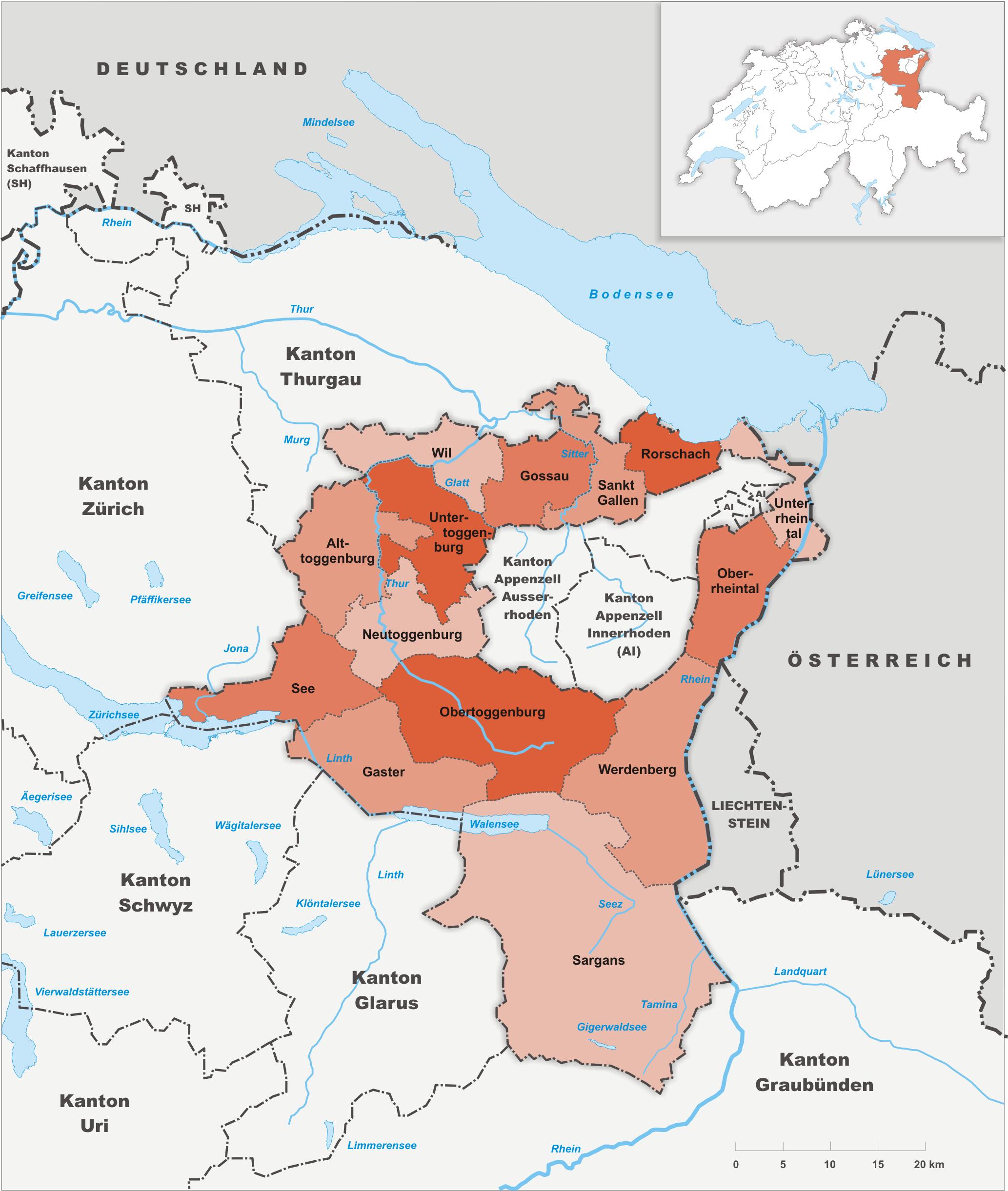 Bezirke des Kantons St. Gallen bis 2002