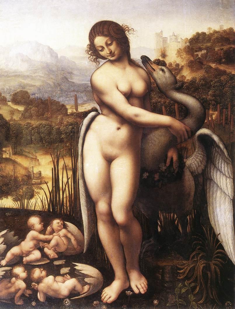 """Resultado de imagem para LEDA E O CISNE"""", de Leonardo Da Vinci, em cópia do século 16"""
