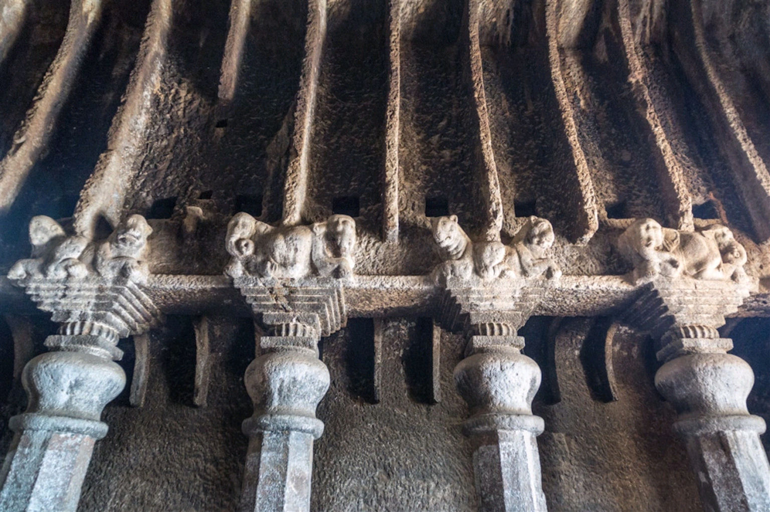 file lenyadri chaitya pillar capitals jpg wikimedia commons