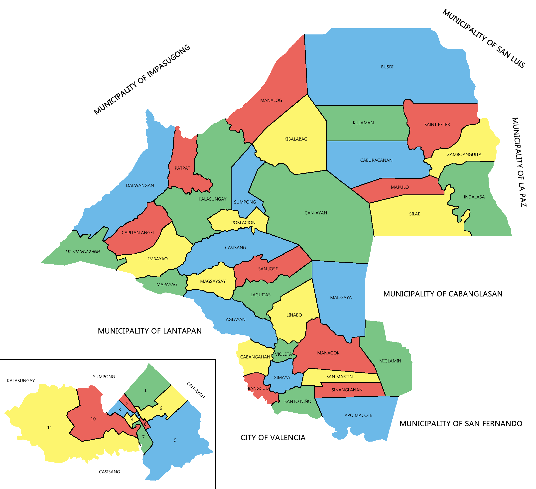 Political map of Malaybalay City showing the 46 barangays under its  jurisdiction. Poblacion district is