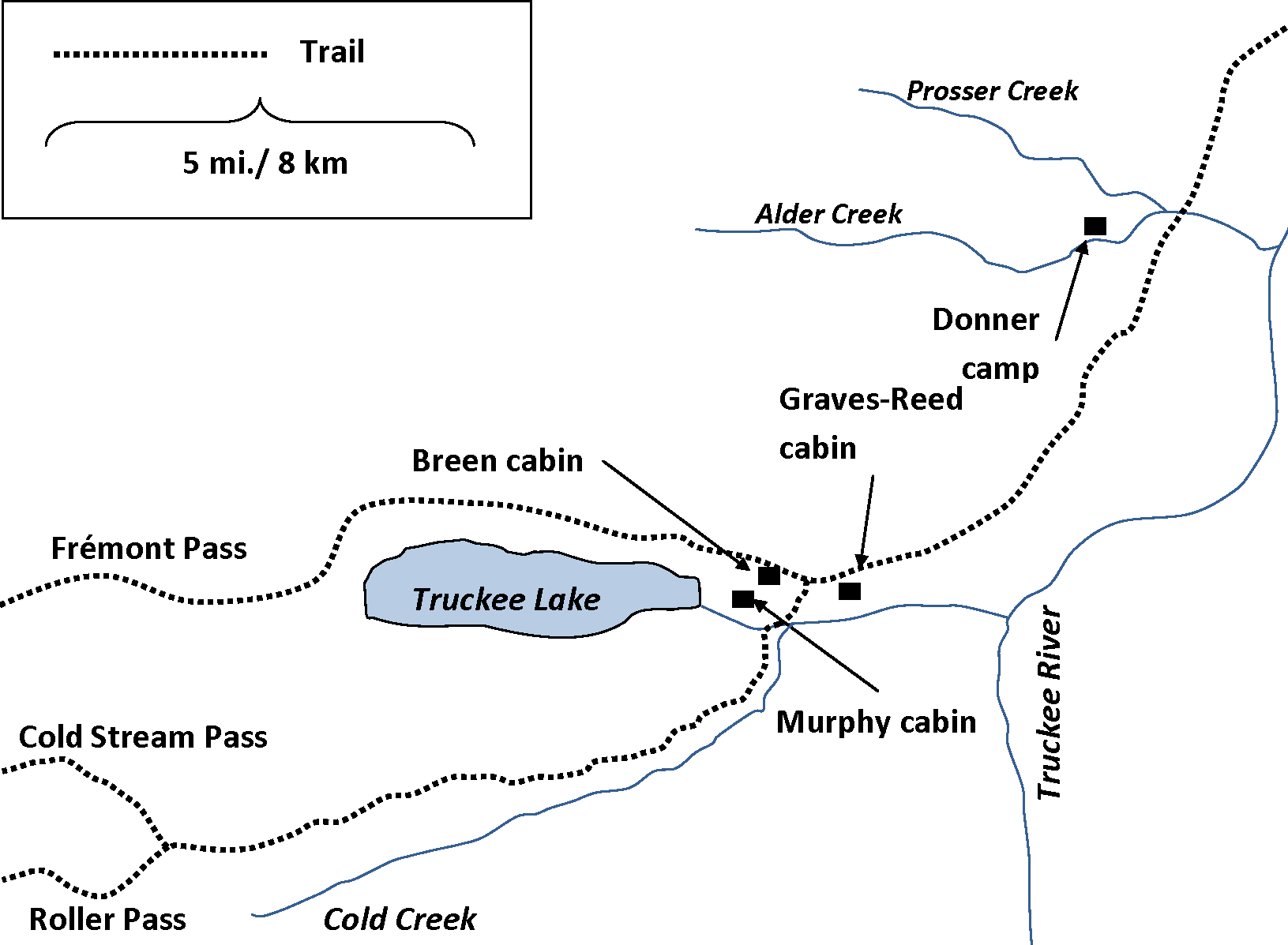 Donner Lake Map File:map of Truckee Lake And