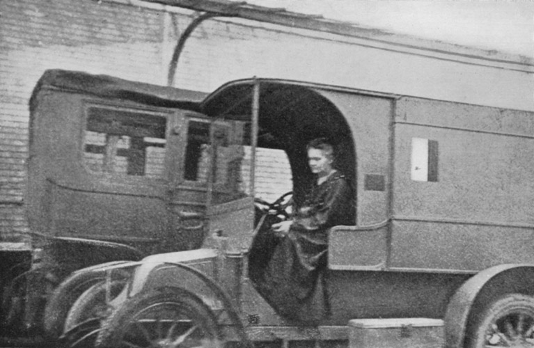 Curie in one of her mobile X-ray vehicles