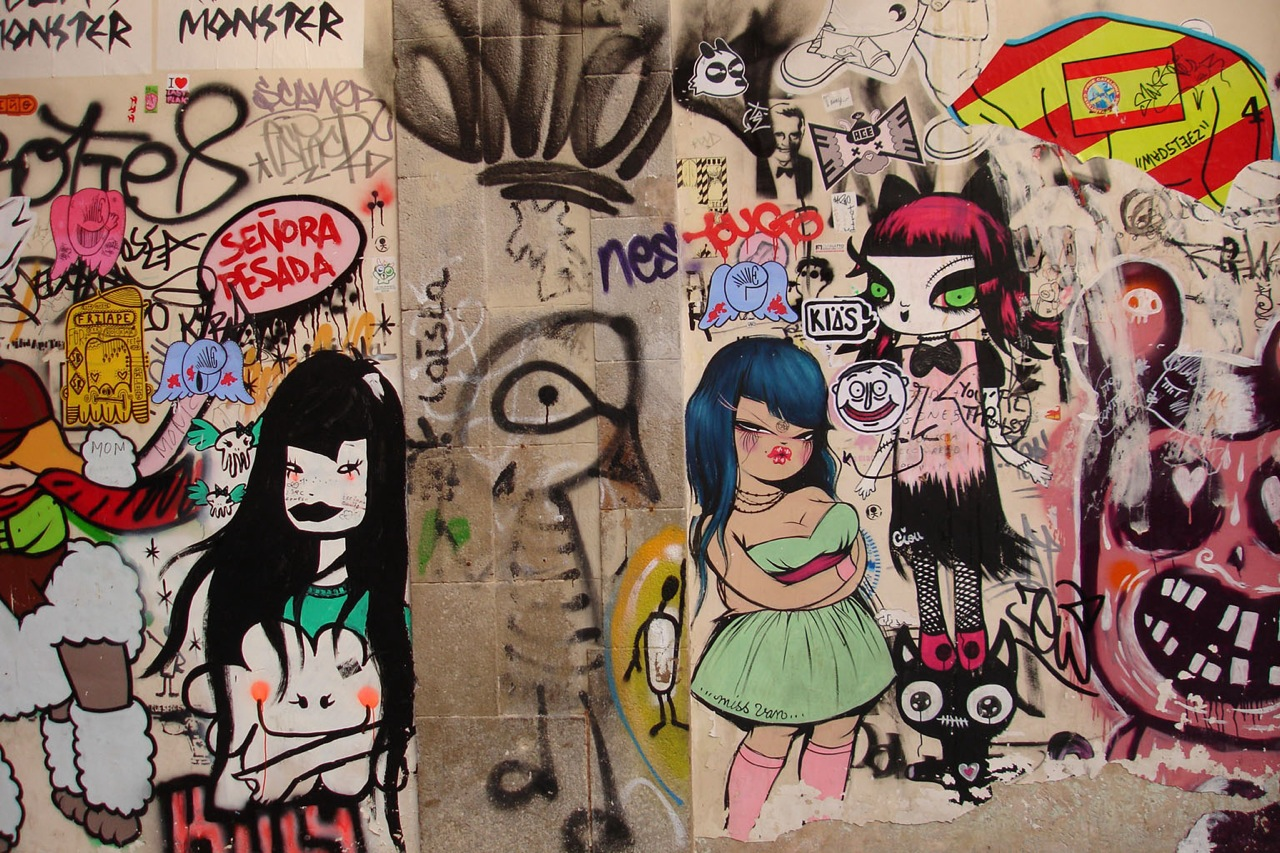 Graffiti by miss van and ciou in barcelona