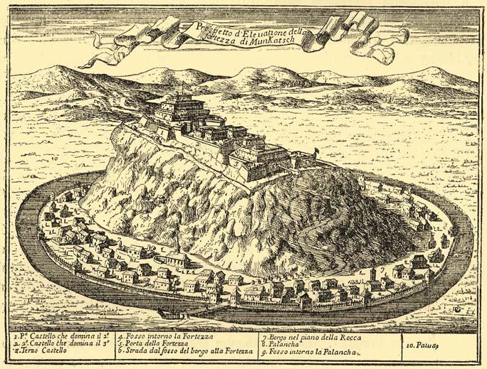 Замок Паланок (Мукачево — Munkatsch) в XVII веке. Гравюра из книги Джованни Джакомо де Росси