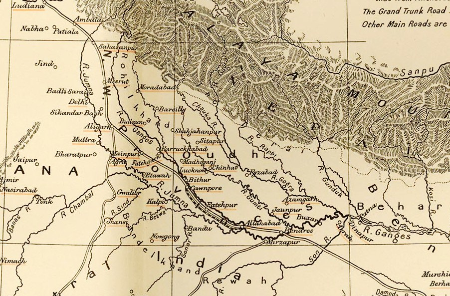 File Oudh In Northern India 1857 Map Jpg Wikimedia Commons