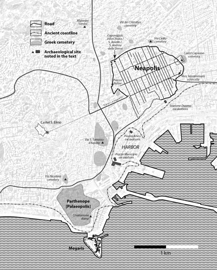 Mappa di Parthenope e Neapolis rispetto alla disposizione attuale della città di Napoli