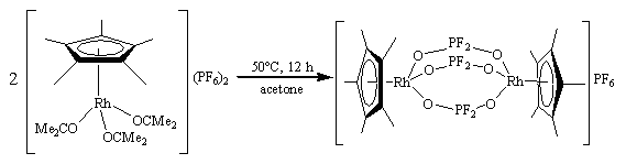 Heating an acetone solution of [(η5-C5Me5)Rh(Me2CO)3](PF6)2 gives the difluorophosphate complex [(η5-C5Me5)Rh(μ-OPF2O)3Rh(η5-C5Me5)]+.