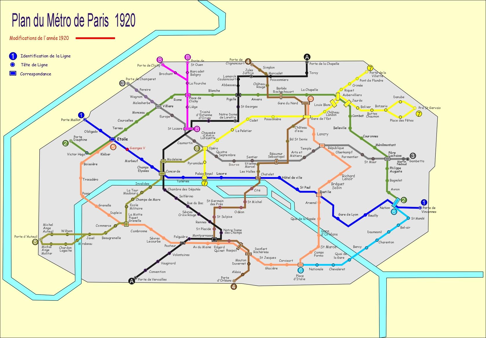 Plan du métro de Paris 2017