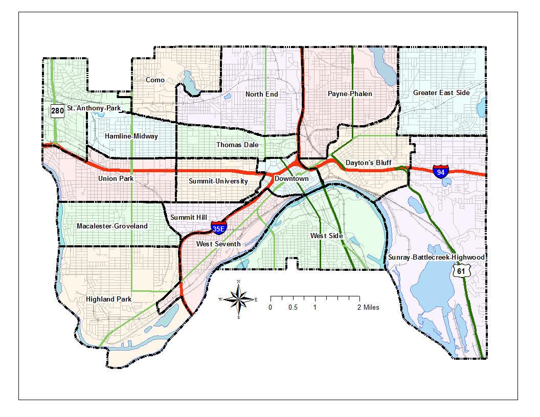 graphic regarding Minneapolis Skyway Map Printable referred to as Neighborhoods inside Saint Paul, Minnesota - Wikipedia