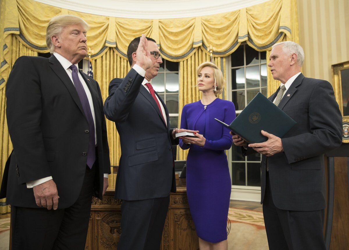 Steven Mnuchin, overseer of the US government stimulus check program, being sworn into office as Secretary of the Treasury.