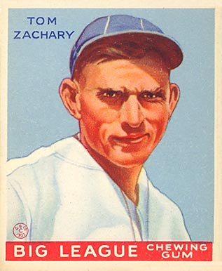 1933 Goudey baseball card of Tom Zachary TomZacharyGoudeycard.jpg