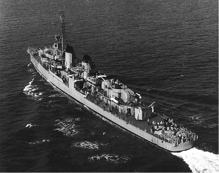USS Monssen (DD-798) underway after she was recommissioned, c. 1951–1952.